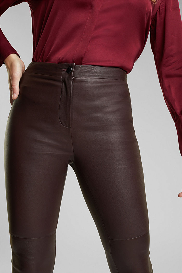Treggings made of pure lamb leather, BORDEAUX RED, detail image number 2