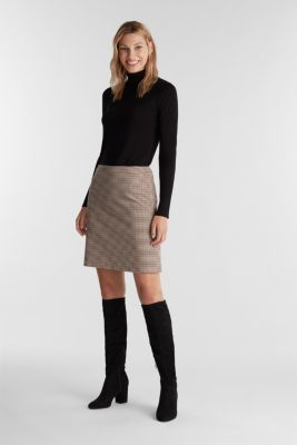 Recycled: Skirt with a herringbone pattern, TOFFEE 3, detail