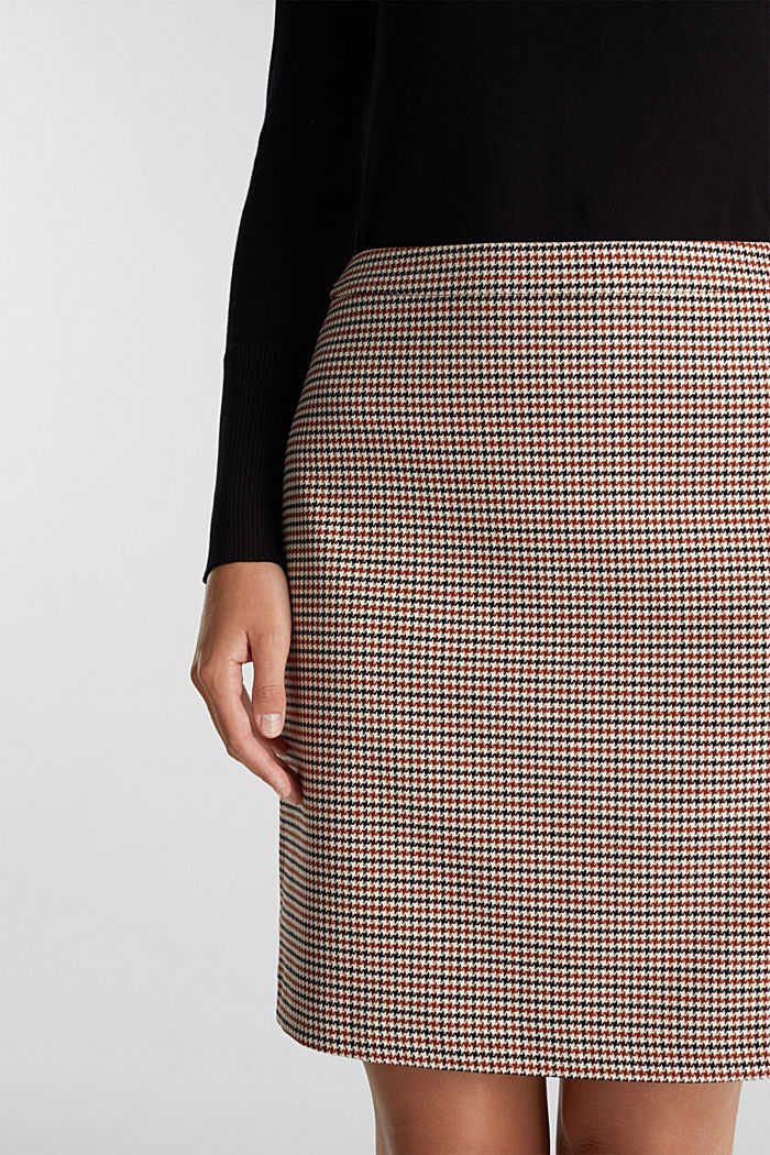 Recycled: Skirt with a herringbone pattern, TOFFEE, detail image number 2