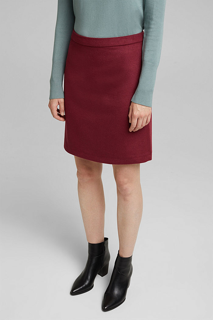 Made of blended wool: mini skirt, BORDEAUX RED, detail image number 0