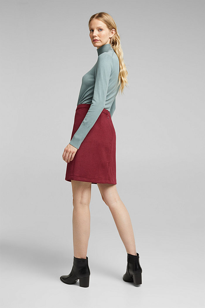 Made of blended wool: mini skirt, BORDEAUX RED, detail image number 2