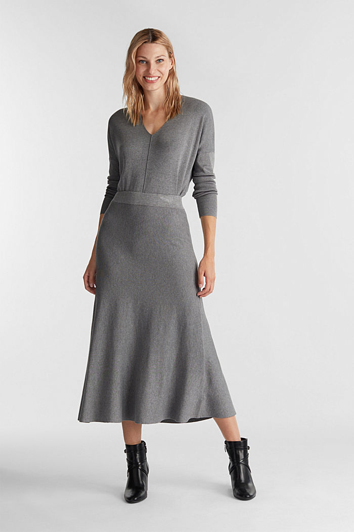 Knitted skirt made of LENZING™ ECOVERO™, GUNMETAL, detail image number 1