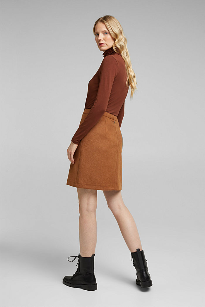 Made of blended wool: mini skirt, TOFFEE, detail image number 3
