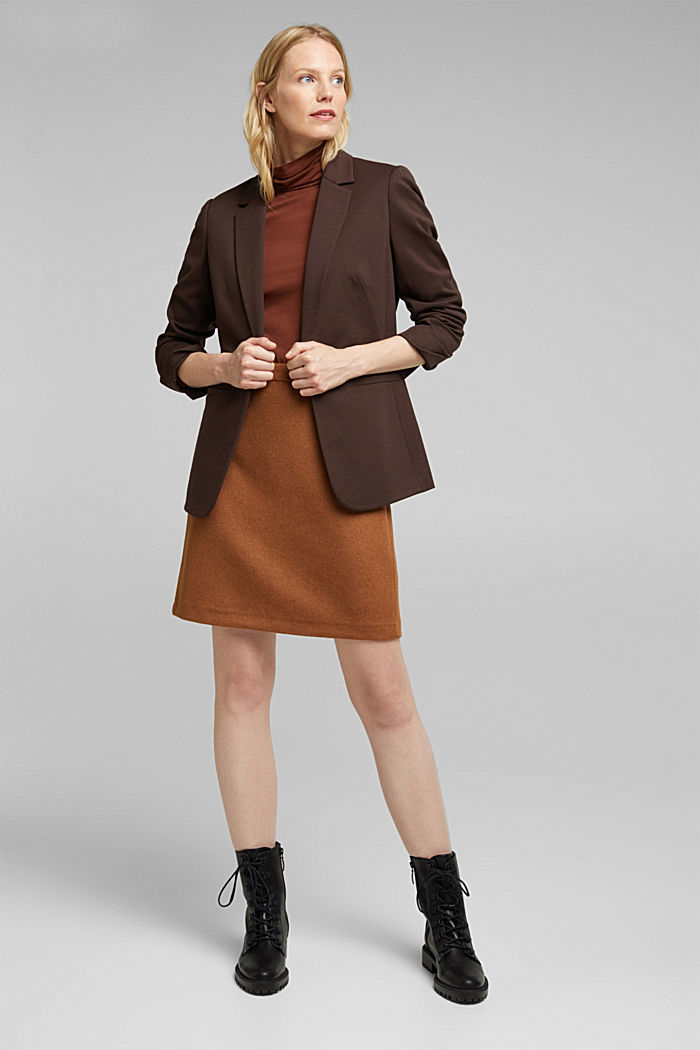 Made of blended wool: mini skirt, TOFFEE, detail image number 1