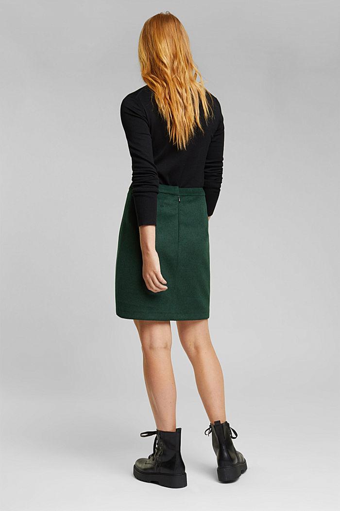 Made of blended wool: mini skirt, BOTTLE GREEN, detail image number 3