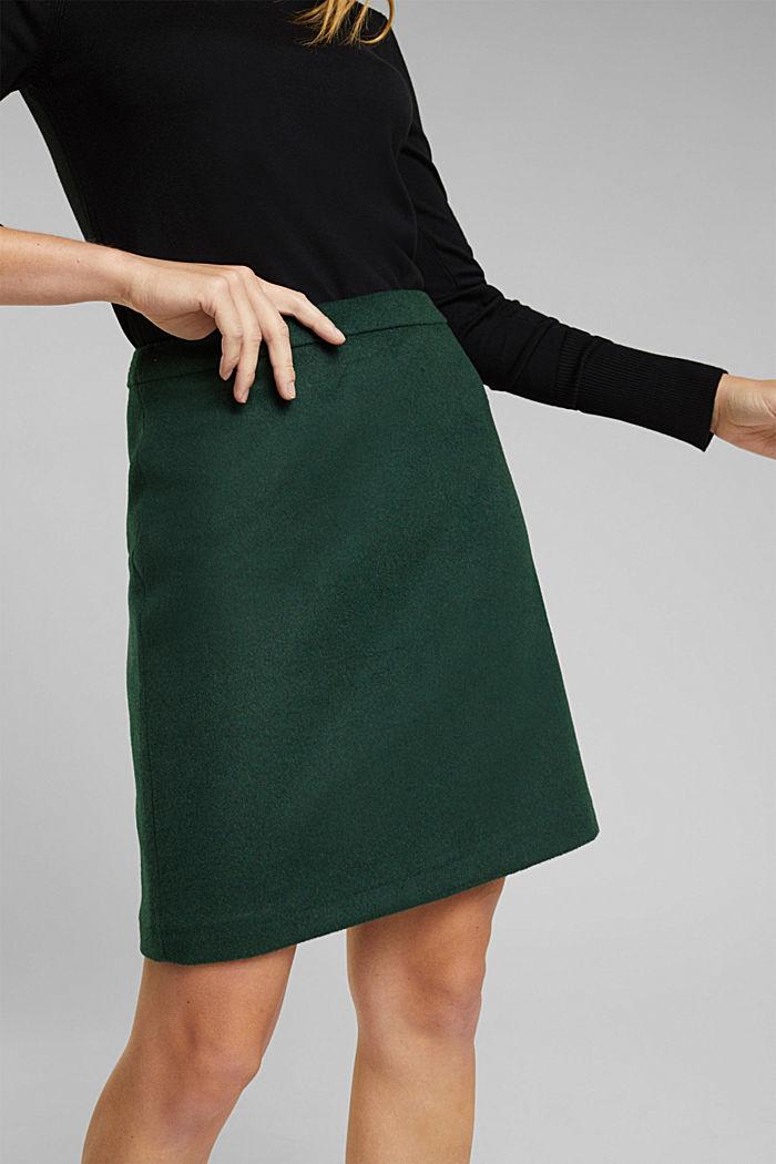 Made of blended wool: mini skirt, BOTTLE GREEN, detail image number 2