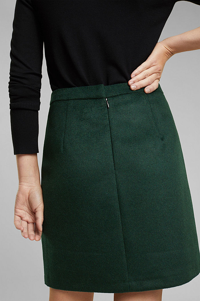 Made of blended wool: mini skirt, BOTTLE GREEN, detail image number 5