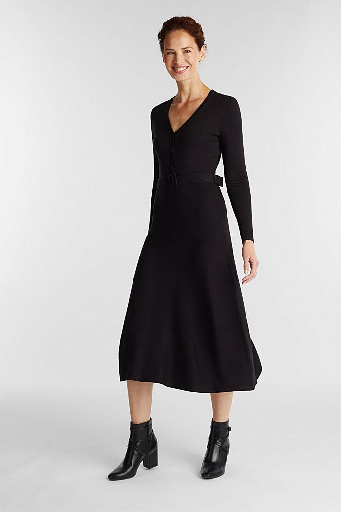 Midi knit dress with LENZING™ ECOVERO™, BLACK, detail image number 0