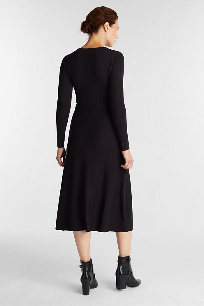Midi knit dress with LENZING™ ECOVERO™, BLACK, detail image number 2