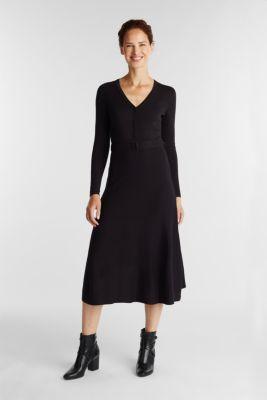 Midi knit dress with LENZING™ ECOVERO™, BLACK, detail
