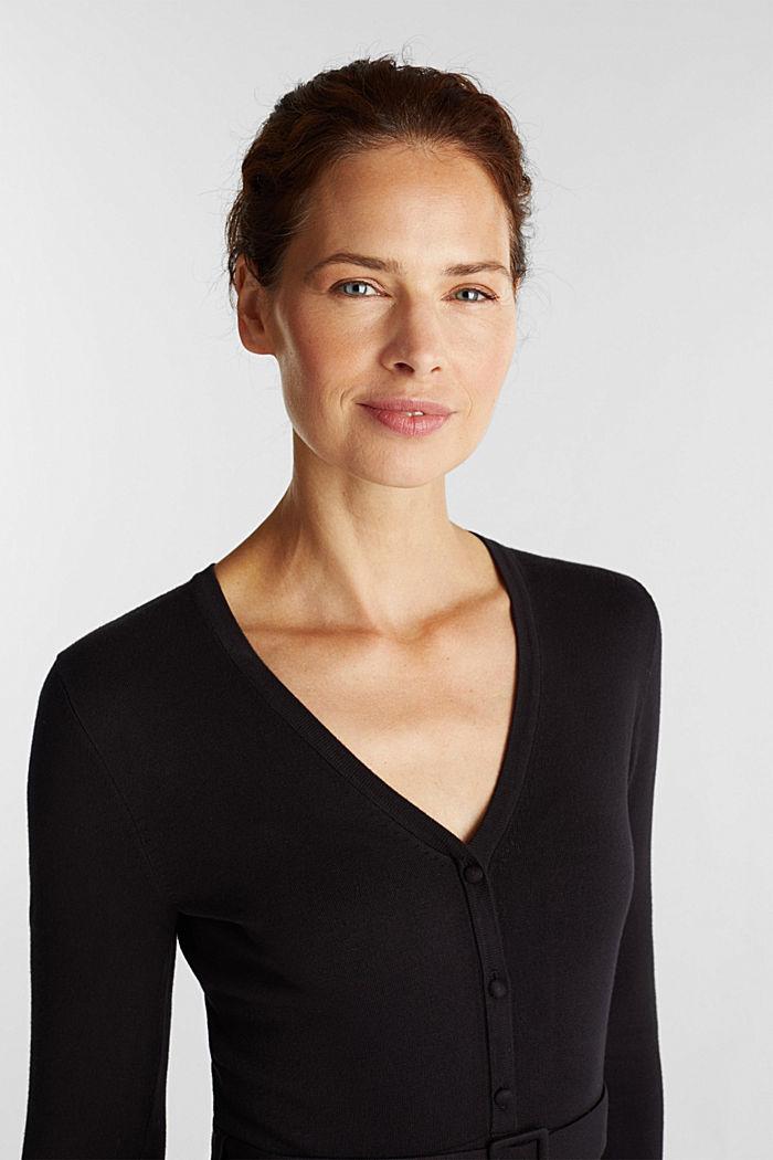 Midi knit dress with LENZING™ ECOVERO™, BLACK, detail image number 5