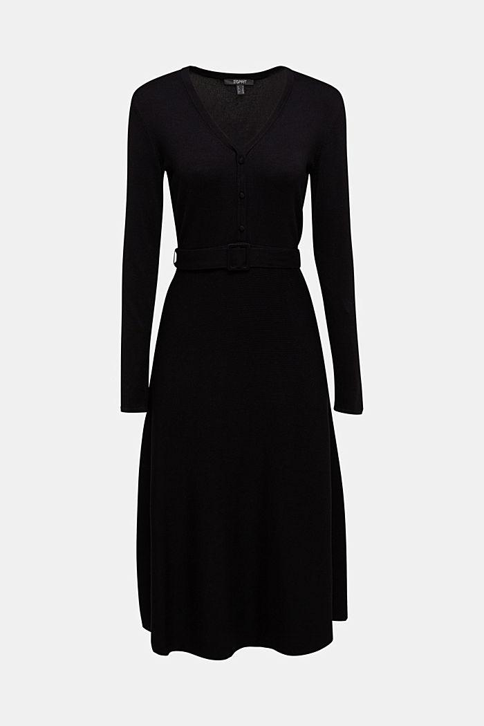 Midi knit dress with LENZING™ ECOVERO™, BLACK, detail image number 6