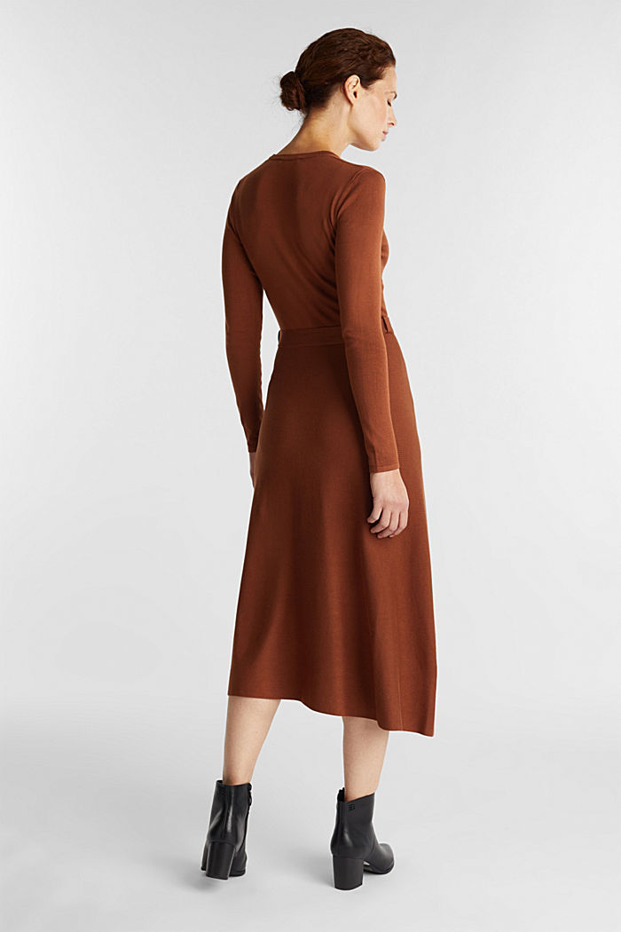 Midi knit dress with LENZING™ ECOVERO™, TOFFEE, detail image number 1