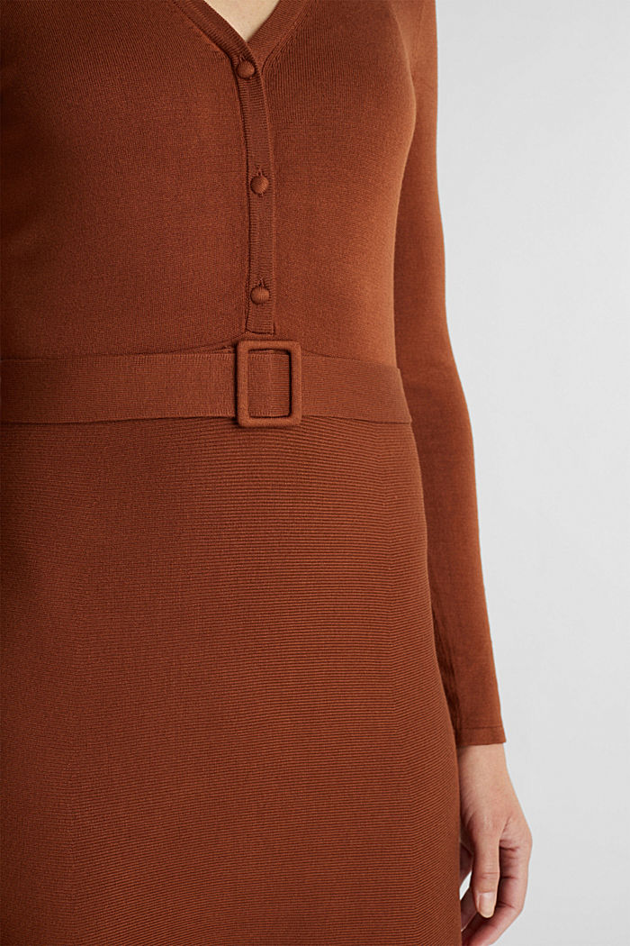 Midi knit dress with LENZING™ ECOVERO™, TOFFEE, detail image number 2