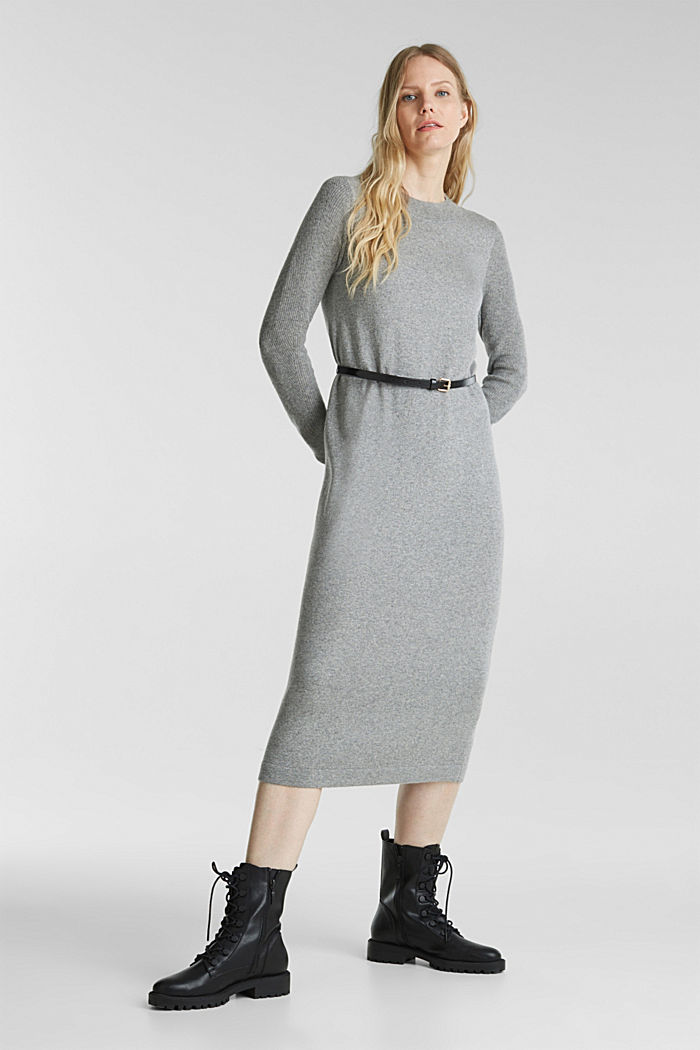 With cashmere: knit dress with a belt, GUNMETAL, detail image number 0