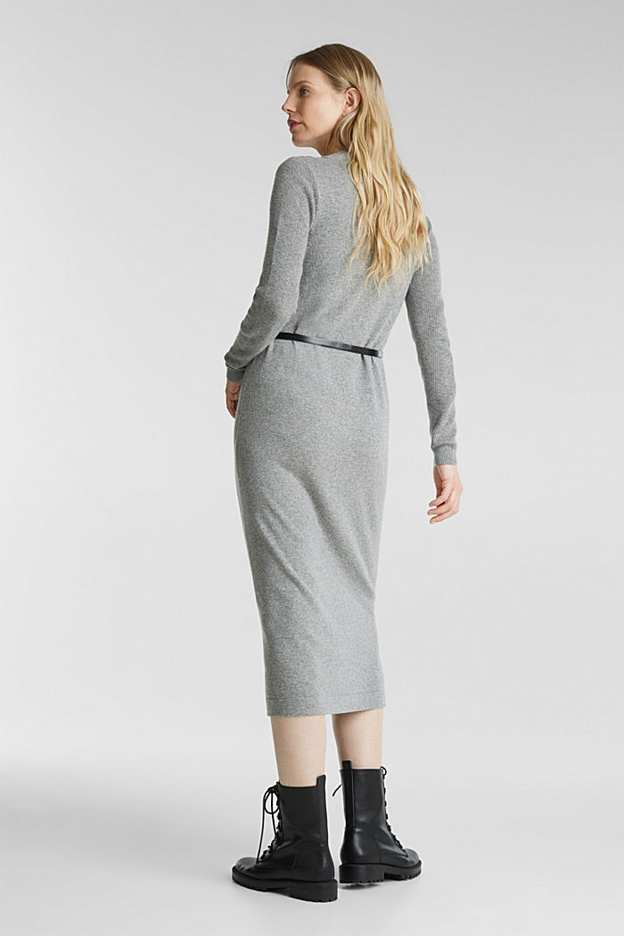 With cashmere: knit dress with a belt, GUNMETAL, detail image number 2