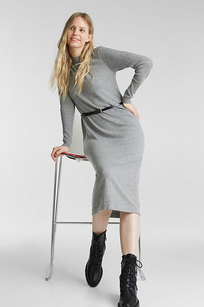 With cashmere: knit dress with a belt, GUNMETAL, detail image number 1