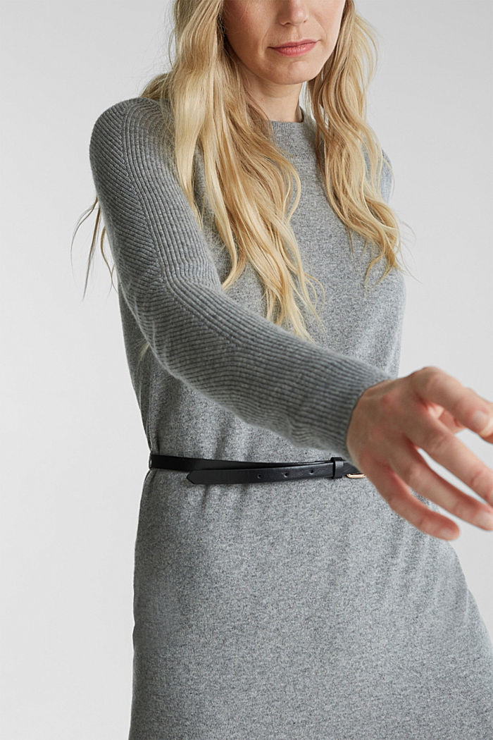 With cashmere: knit dress with a belt, GUNMETAL, detail image number 3