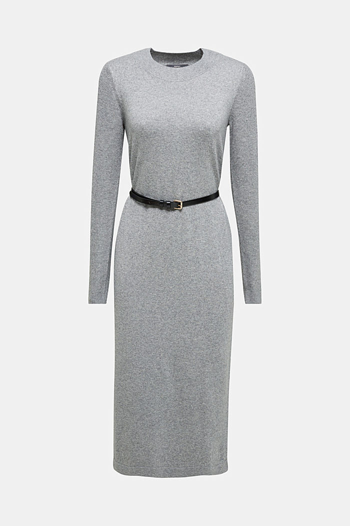 With cashmere: knit dress with a belt, GUNMETAL, detail image number 5