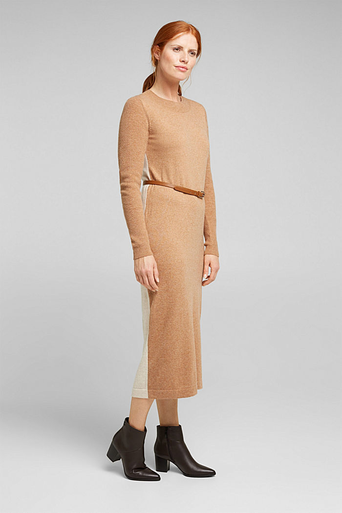 With cashmere: knit dress with a belt, CAMEL, detail image number 0