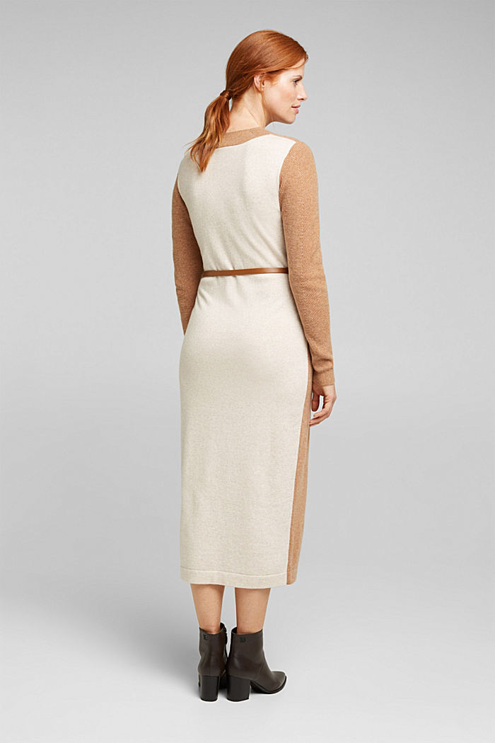 With cashmere: knit dress with a belt, CAMEL, detail image number 2
