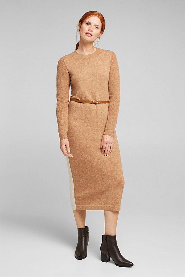 With cashmere: knit dress with a belt, CAMEL, detail image number 1