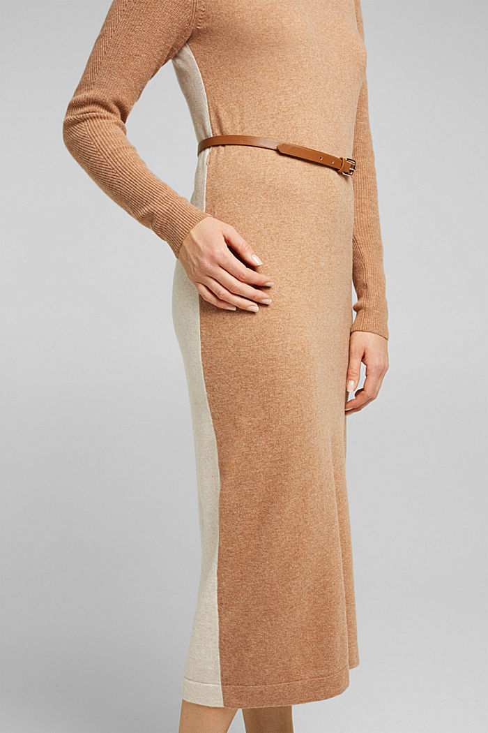 With cashmere: knit dress with a belt, CAMEL, detail image number 3