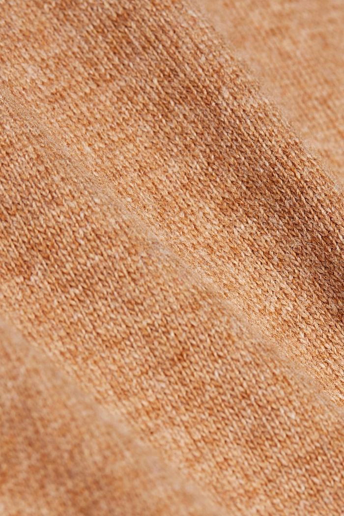 With cashmere: knit dress with a belt, CAMEL, detail image number 4
