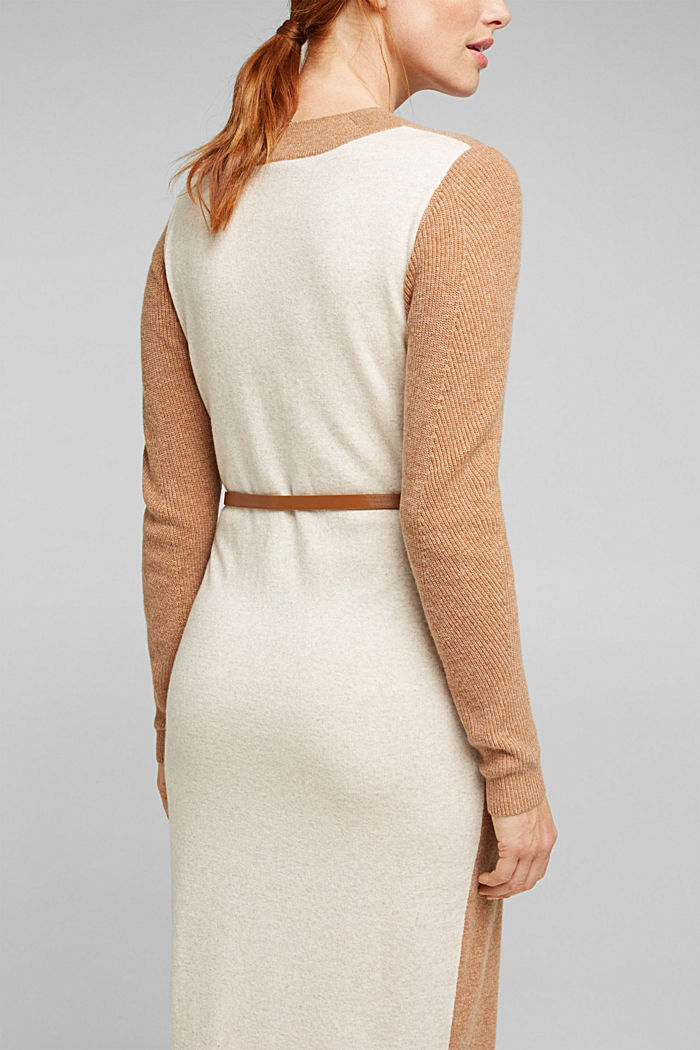 With cashmere: knit dress with a belt, CAMEL, detail image number 5