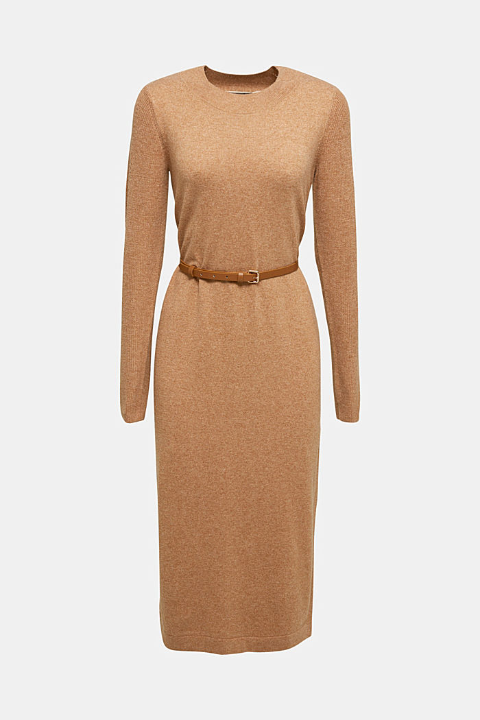 With cashmere: knit dress with a belt, CAMEL, detail image number 7