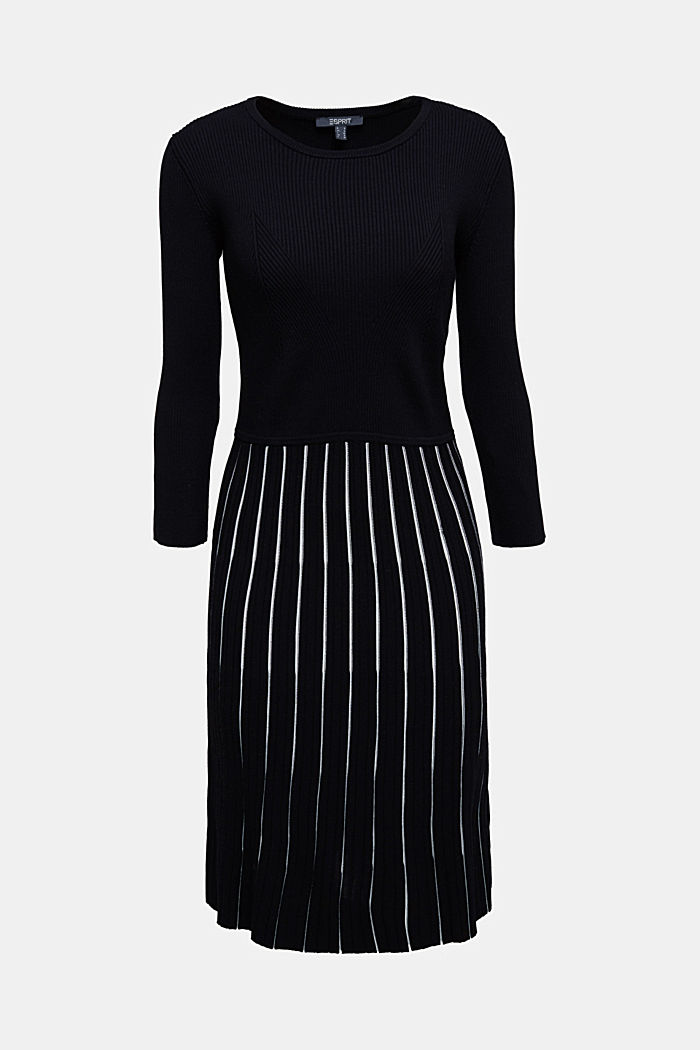 Rib knit dress with LENZING™ ECOVERO™, BLACK, detail image number 6