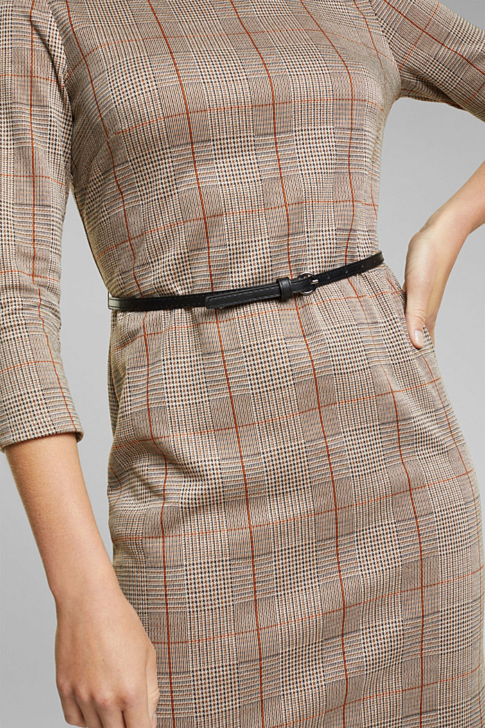 Jersey dress with a Prince of Wales check pattern, BLACK, detail image number 3