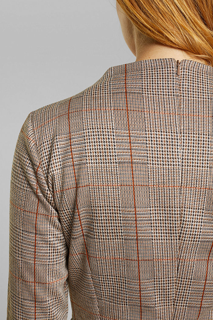 Jersey dress with a Prince of Wales check pattern, BLACK, detail image number 5