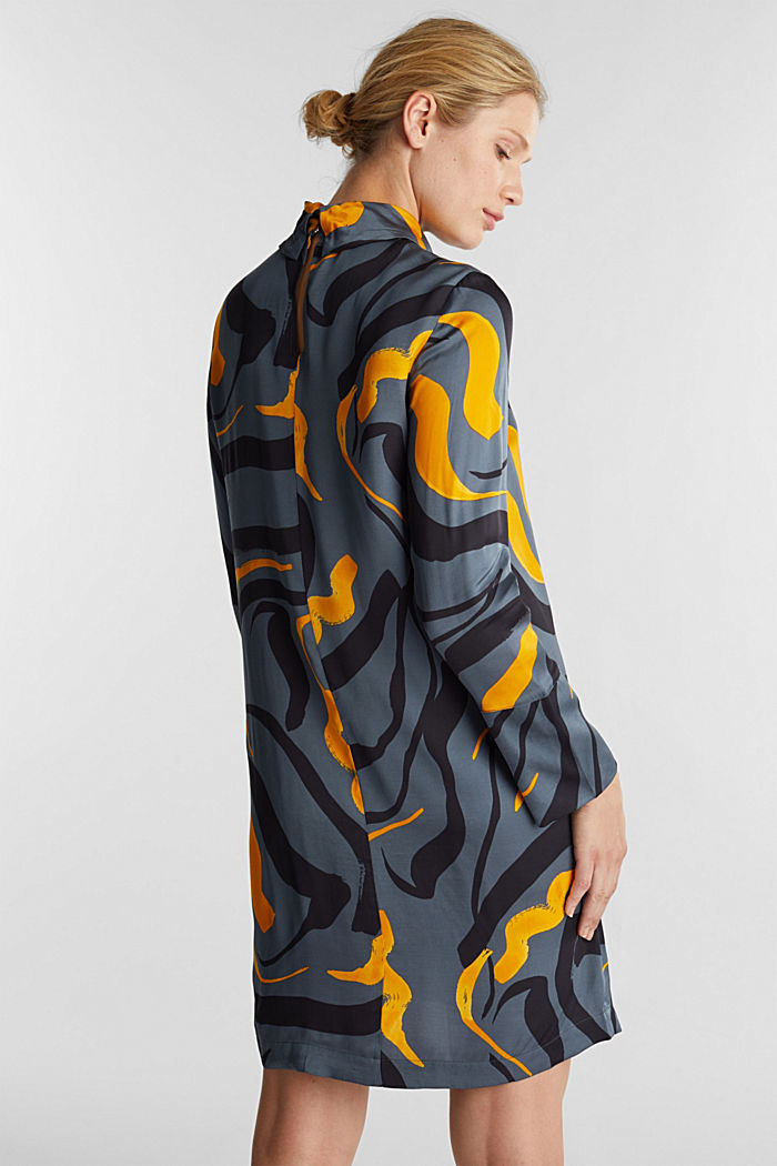 Print dress with LENZING™ ECOVERO™, GUNMETAL, detail image number 2