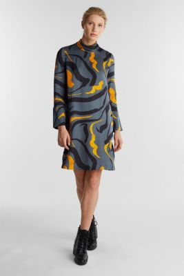 Print dress with LENZING™ ECOVERO™, GUNMETAL 4, detail
