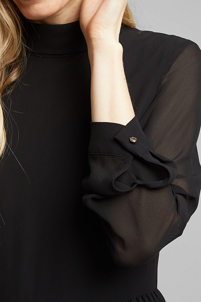 Recycled: chiffon dress with a stand-up collar, BLACK, detail image number 3