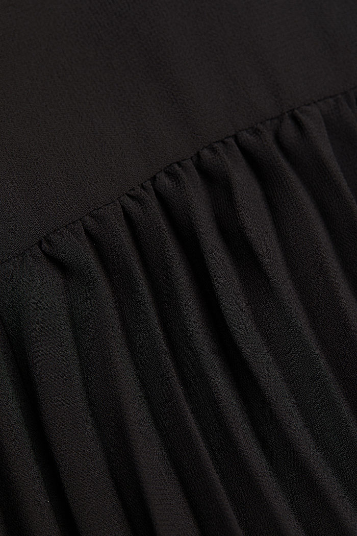 Recycled: chiffon dress with a stand-up collar, BLACK, detail image number 4