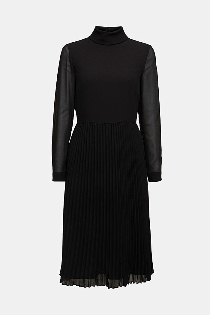 Recycelt: Chiffon-Kleid mit Stehkragen