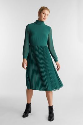 Recycled: chiffon dress with a stand-up collar, BOTTLE GREEN, detail