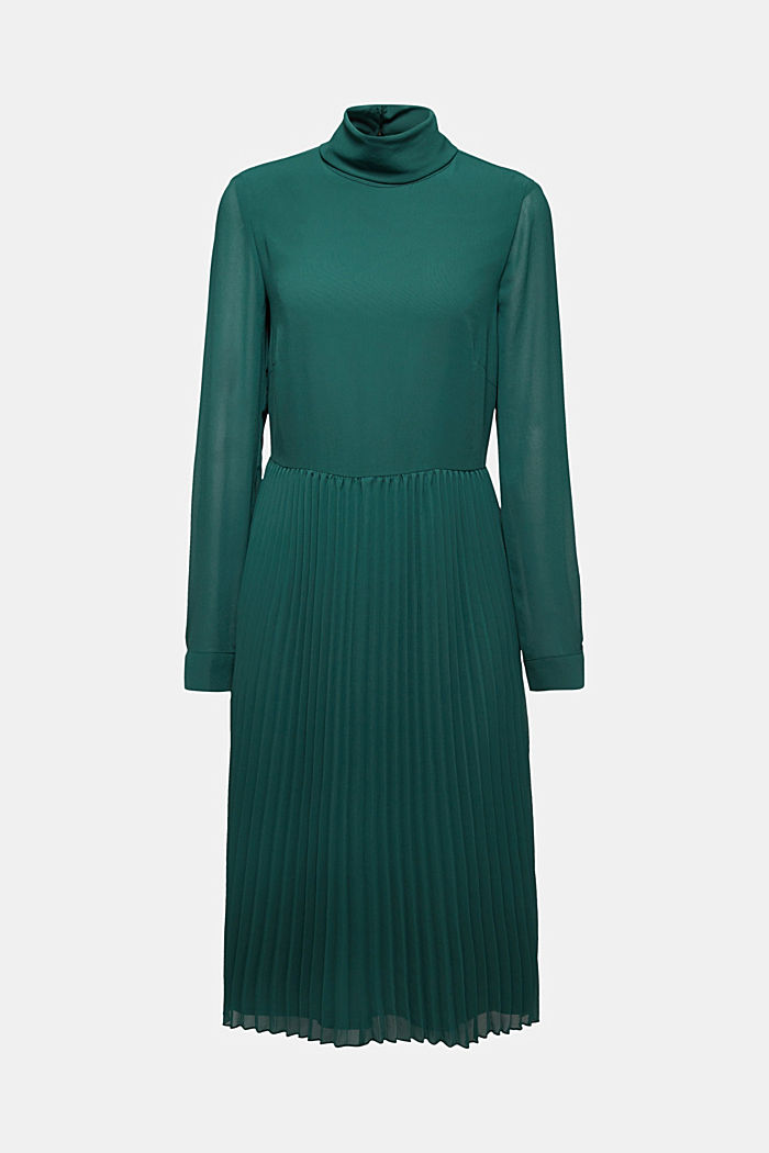 Recycled: chiffon dress with a stand-up collar, BOTTLE GREEN, detail image number 6