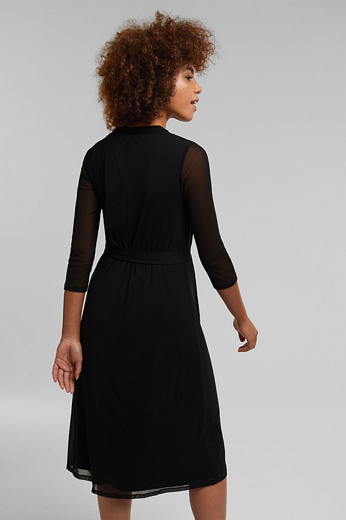 Midi shirt dress made of mesh fabric, BLACK, detail image number 2