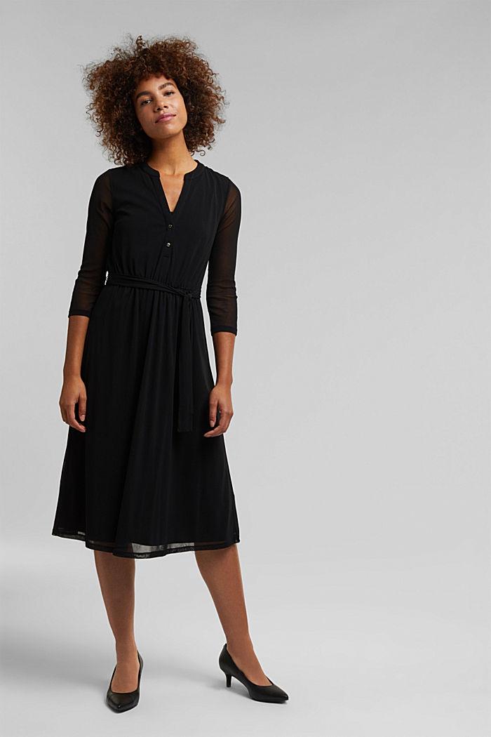 Midi shirt dress made of mesh fabric, BLACK, detail image number 1