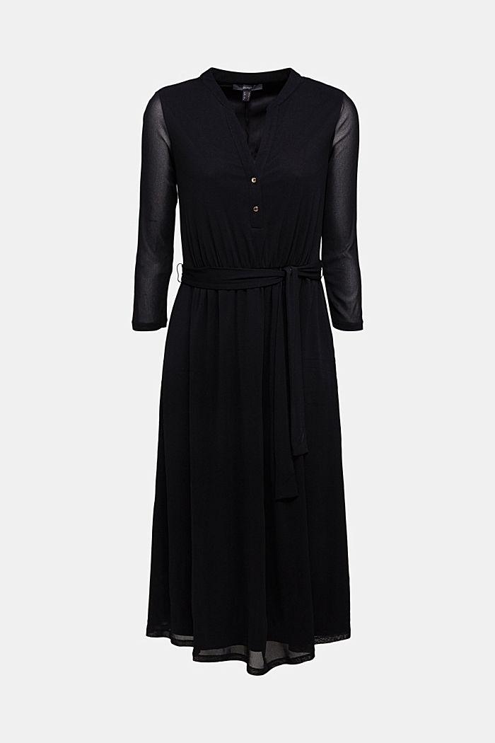 Midi shirt dress made of mesh fabric, BLACK, detail image number 5