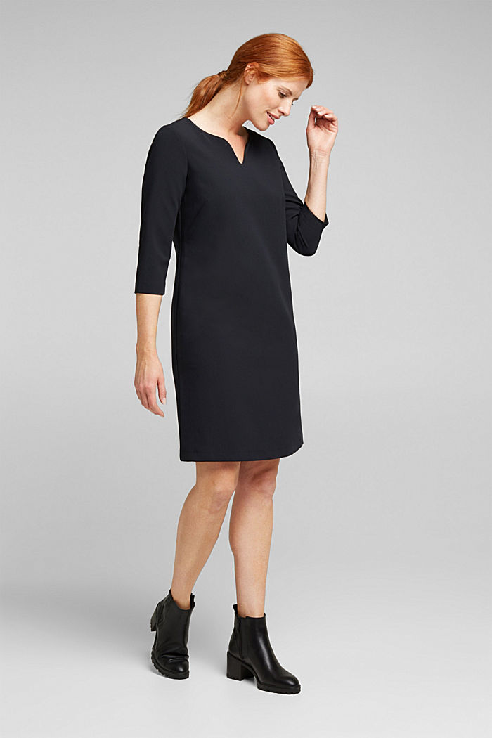 Shift dress with a cup neckline, BLACK, detail image number 6