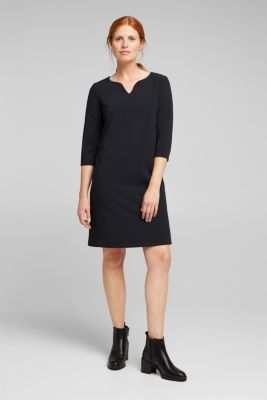 Shift dress with a cup neckline, BLACK, detail