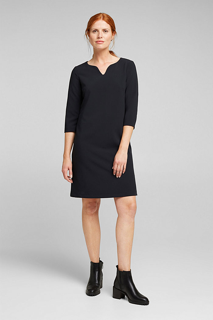 Shift dress with a cup neckline, BLACK, detail image number 1
