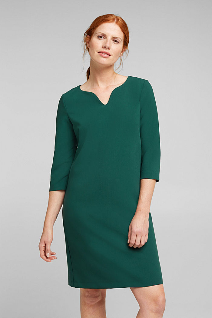 Shift dress with a cup neckline, BOTTLE GREEN, detail image number 0