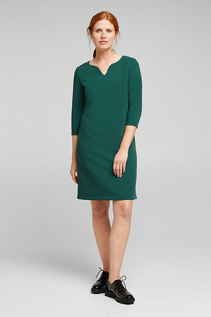 Shift dress with a cup neckline, BOTTLE GREEN, detail image number 1
