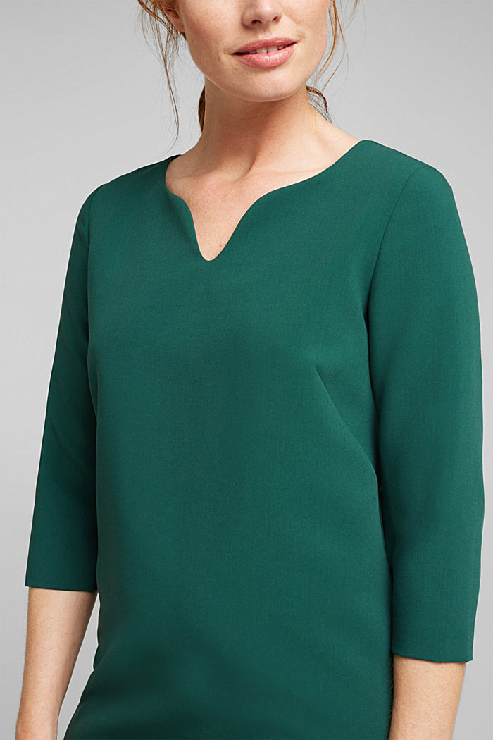 Shift dress with a cup neckline, BOTTLE GREEN, detail image number 2