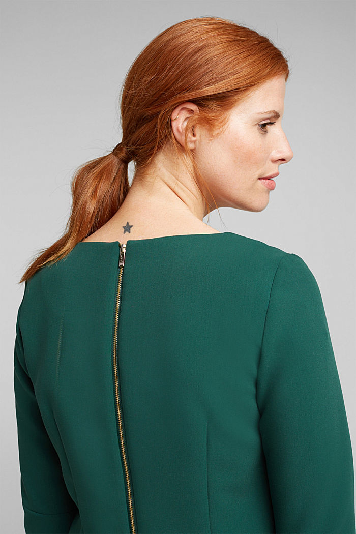 Shift dress with a cup neckline, BOTTLE GREEN, detail image number 5